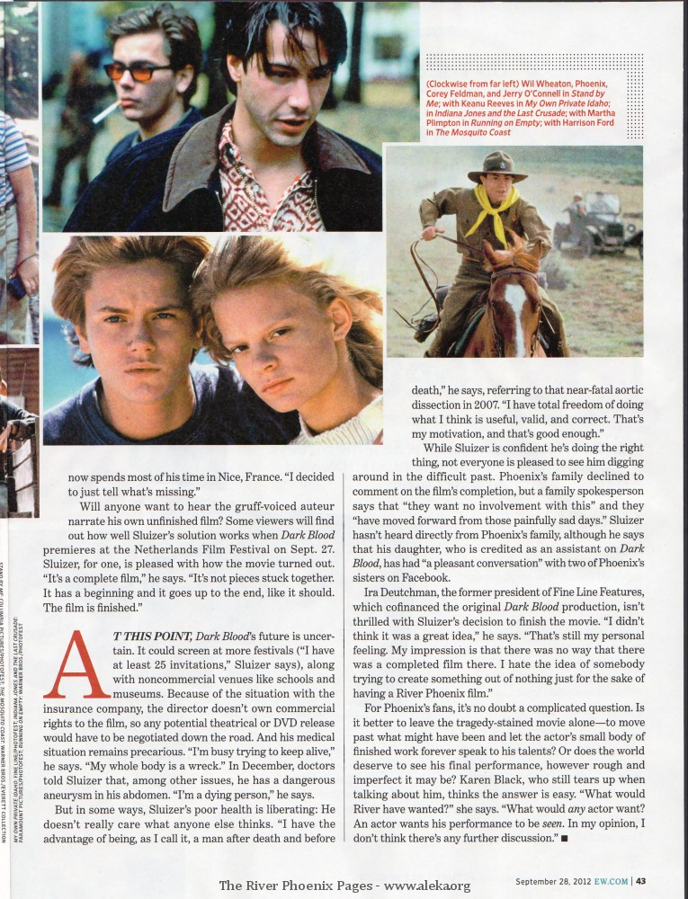 The River Phoenix Pages / Articles / Scans / Entertainment Weekly
